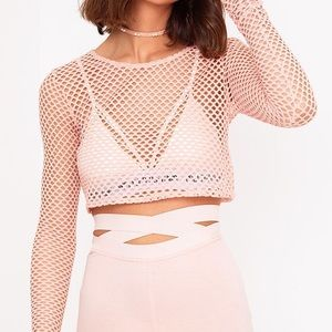 White Lace-up Fishnet Top